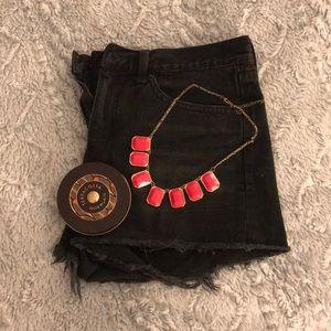 NWOT Black Distressed Denim Shorts